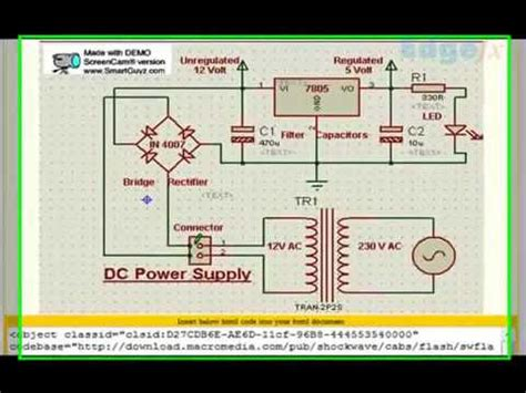 diode bridge in proteus conversion of ac to dc power supply by bridge rectifier edgefx