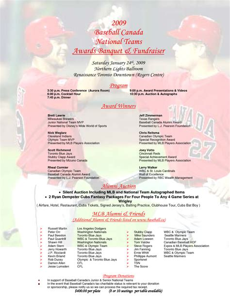 athletic banquet program template best photos of sports banquet program template high