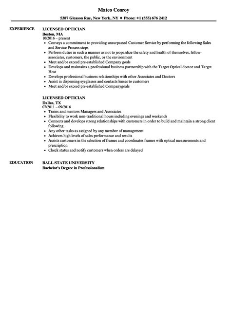 Description For Optician by Description For Optician Eit On Resume
