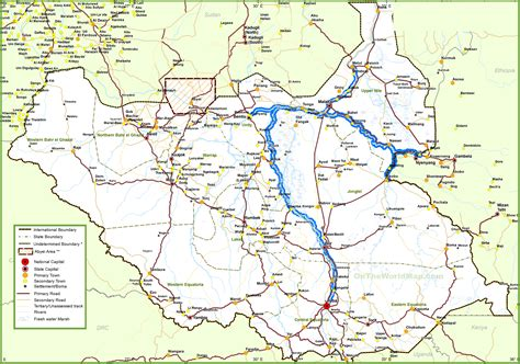 map with towns and cities large detailed map of south sudan with cities and towns