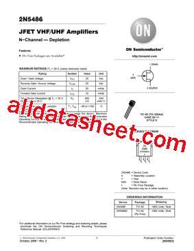 transistor j 111 equivalent 2n5486 datasheet pdf on semiconductor