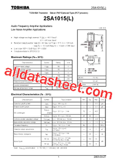 transistor a1015y datasheet 28 images a1015 datasheet pdf pnp transistor toshiba a1015
