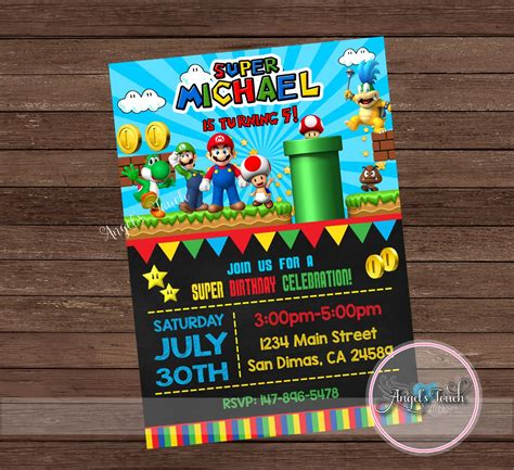 super mario party invitation super mario birthday invitation