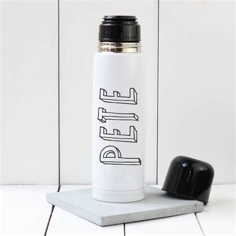 personalised bubble name thermos flask by a piece of
