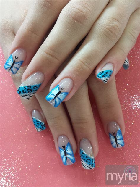 blue butterfly nail designs