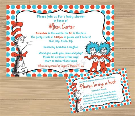Dr Seuss Baby Shower Invitations by Custom Made Dr Suess Baby Shower Invitation And Free Insert