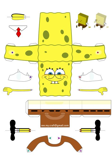 spongebob papercraft by kamibox on deviantart