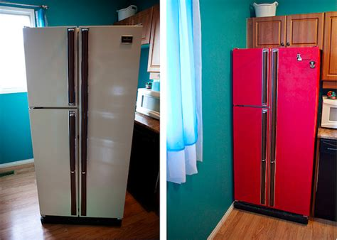 Turquoise Kitchen Ideas red refrigerator this diy project will save you 100 s