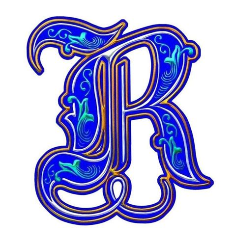 beleuchtete buchstaben illuminated letter r coloring tags