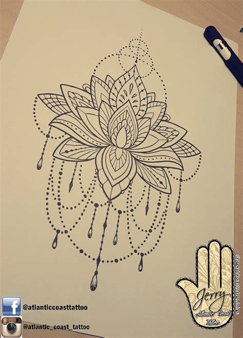 atlantic tattoo beautiful lotus mandala idea design for a thigh arm