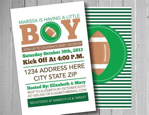Football Themed Baby Shower Invitations by Football Baby Shower Invitation Sports Theme Boy Baby