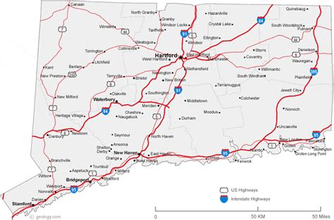 printable connecticut road map map of connecticut cities connecticut road map