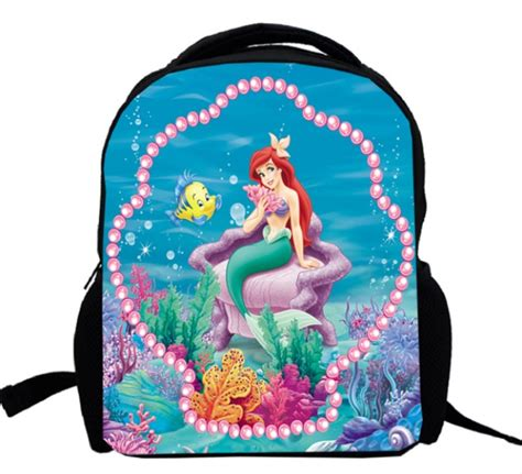 17inch little mermaid backpack double layer girls princess