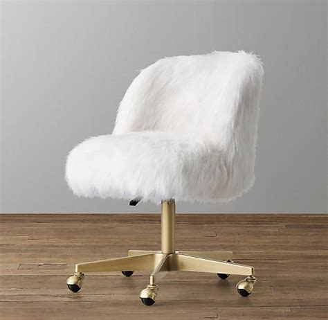 white fur desk chair alessa white kashmir faux fur desk chair antiqued brass