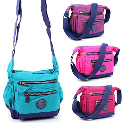 Travelbag Multy Black Blue Line Greenlight aossta womens multi zip pockets fabric lightweight cross bag shoulder bag messenger bag