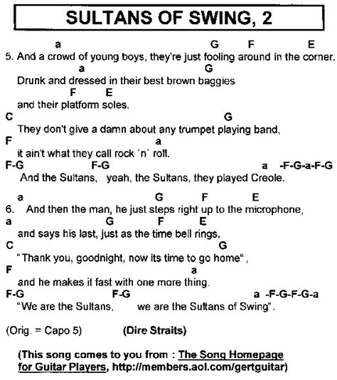 lyrics sultans of swing rock hits lyrics chords for guitar players