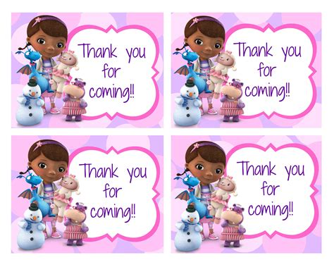 doc mcstuffins thank you card template doc thank you card baby s turning 3