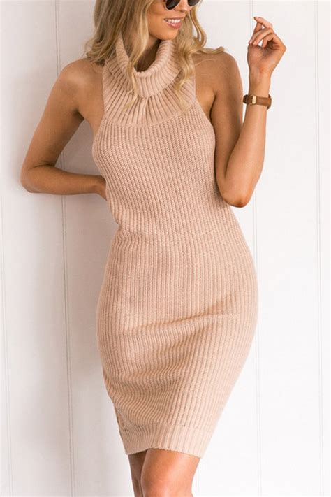 coral halter ribbed knitted sexy bodycon sweater dress