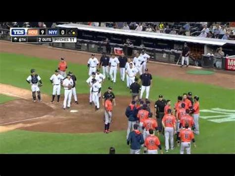 mlb benches clear astros yankees benches clear mlb com youtube