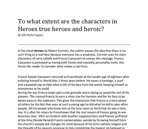 Robert Cormier Heroes Essay Questions by To What Extent Are The Characters In Quot Heroes Quot By Robert Cormier True Heroes And Heroic Gcse