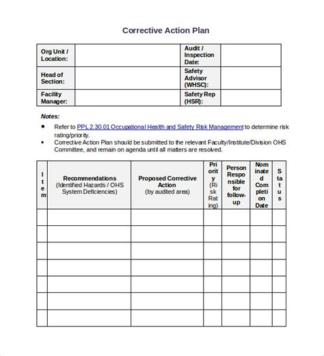 sle corrective action plan template 12 documents in