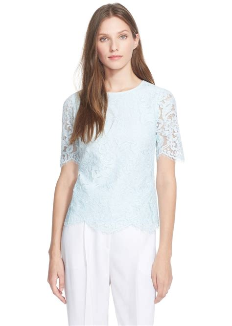 Blue Lace Edges S M L Blouse 45003 ted baker ted baker scallop edge lace top casual shirts shop it to me