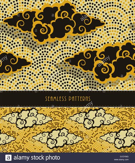 yellow japanese pattern a set of two japanese style seamless patterns with clouds