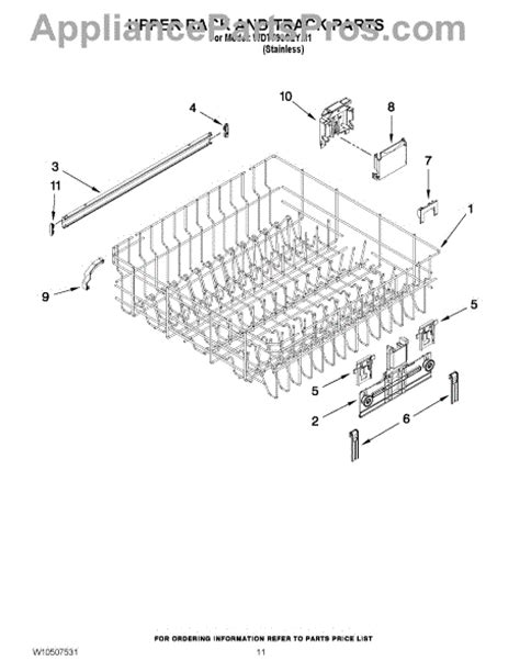 whirlpool dishwasher rack parts parts for whirlpool wdt790slym1 upper rack and track parts appliancepartspros com