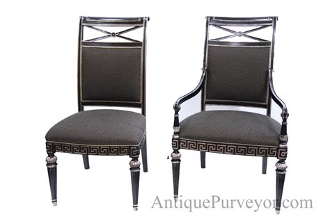 dining room end chairs black silver painted transitional upholstered dining room