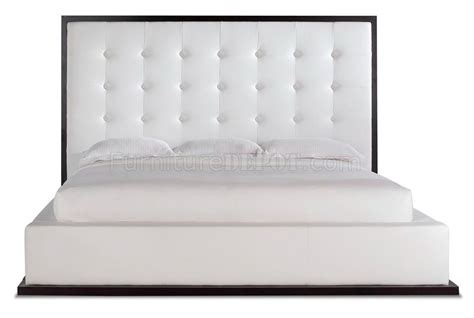 white tufted leather headboard ludlow platform bed in white full leather by modloft