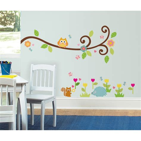 mural wall stickers owlobsession 187 tree branch with owl flowers more