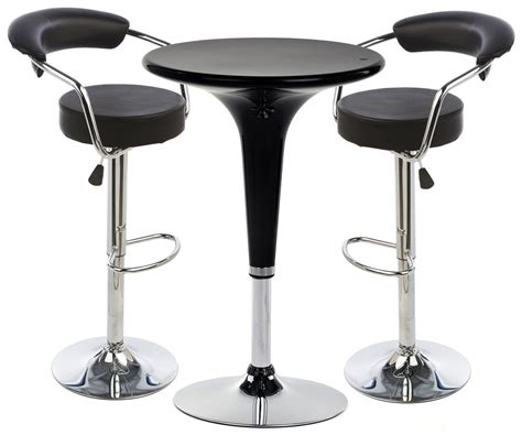Bar Stool Table Sets Black Hydraulic Bar Stool And Table Set Leatherette Seats
