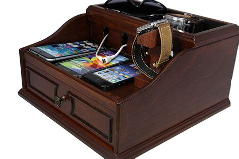 l with charging station wooden multi device charging station and cord organizer