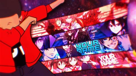 free anime youtube banner template 4 banners manodnz