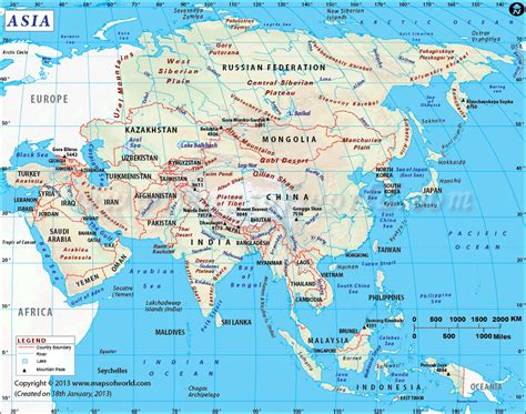 maps of asia asia map highlights the asian countries with their rivers capitals cities continent maps