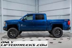 black widow 2015 chevy silverado 1500 blue lifted truck