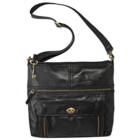 Fossil Crossbody Black fossil stanton leather top zip crossbody in black lyst