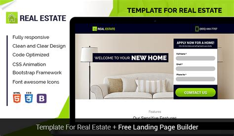 Lead Gen Real Estate Landing Page Template With Free Landing Page Builder Olanding Best Real Estate Landing Page Templates