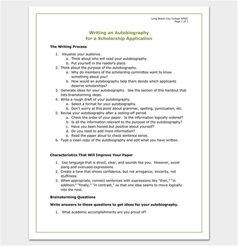 template for autobiography autobiography outline template 23 exles and formats