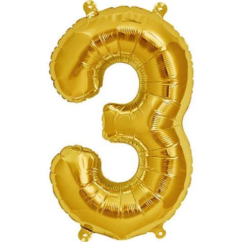 Balon Foil Angka Gold Foil Gold gold number 3 foil balloon 41cm 16inch partyrama