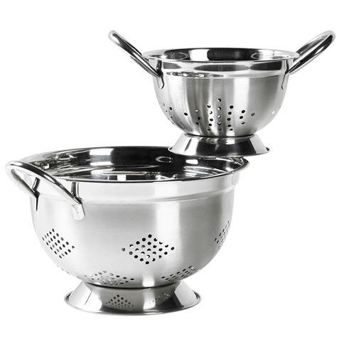 the domestic front kitchen essential cookware and bakeware set of 2 stainless steel colanders by basic essentials