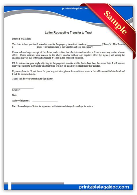 printable letter requesting transfer trust form