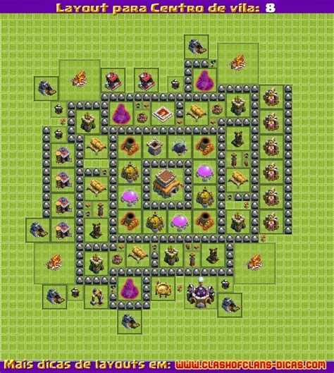 layout hibrido cv 8 4 morteiros layouts para clash of clans centro de vila 8