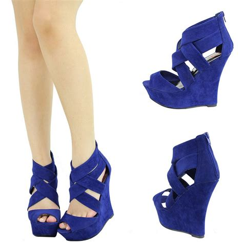 royal blue high heel sandals royal blue peep toe strappy high heel platform wedge