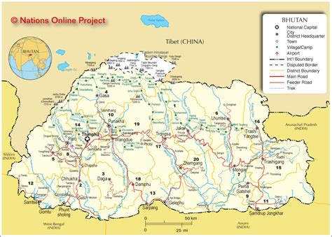 map of bhutan in world map bhutan