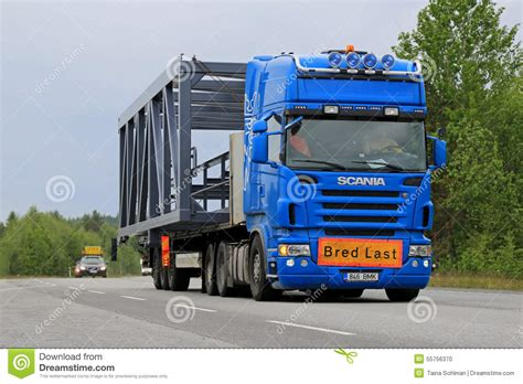 scania semi truck hauls a wide load editorial image image of haulage industrial 55756370
