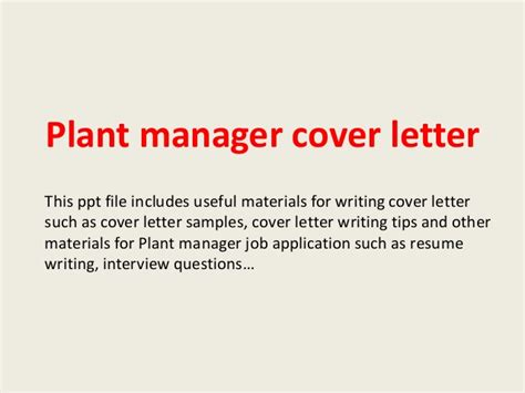 Factory Manager Cover Letter by Plant Manager Cover Letter