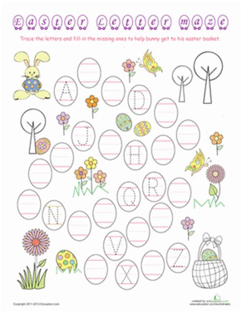 printable easter alphabet letters easter alphabet maze worksheet education com