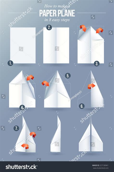 Simple Steps To Make A Paper Airplane - how make paper plane 8 stock vector 227130961