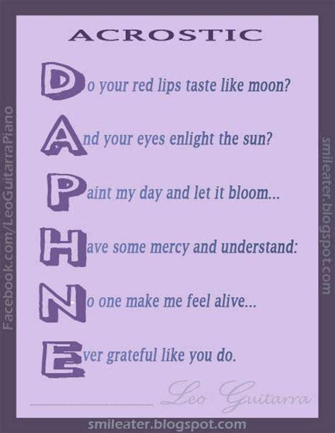 acrostico de la palabra en ingles espanol smileater 2nd acrostic of a woman s name daphne with rhyme